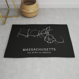 Massachusetts State Road Map Rug