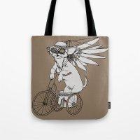 steam punk Tote Bags featuring Steam Punk Chihuahua by Rebecca Pocai