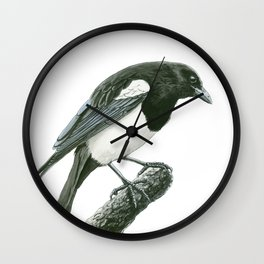 Magpie ink painting Wall Clock