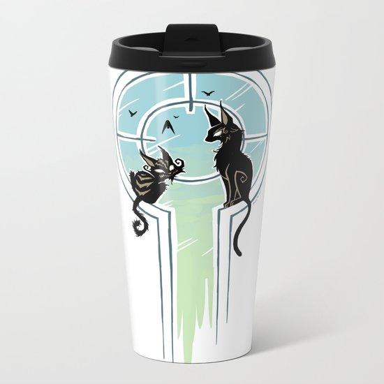 Window Cats Metal Travel Mug