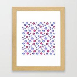 Watercolor blue & purple blots Framed Art Print