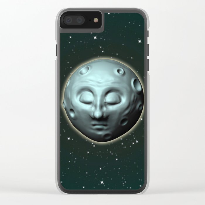 Moon over starry sky Clear iPhone Case