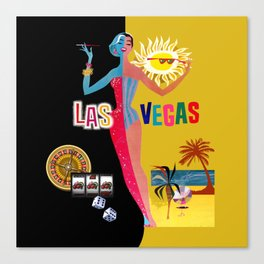 Loving Las Vegas | vintage black & gold Canvas Print