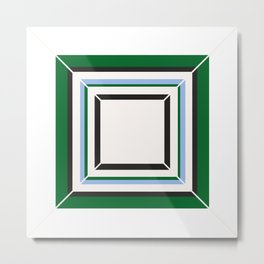 Green Blue And White Tile Metal Print