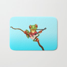 Tree Frog Playing Acoustic Guitar with Flag of Singapore Bath Mat