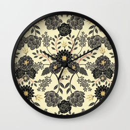 Gray, Black, Cream, Yellow & Red Sophisticated Floral Pattern Wall Clock
