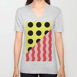 Polka Waves - black and yellow polka dots and red and pink waves Unisex V-Neck