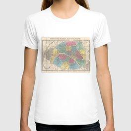 Vintage Map of Paris France (1863) T-shirt