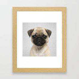 Pug Puppy - Colorful Framed Art Print