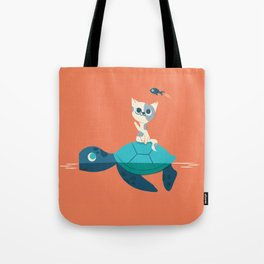 Cat on a Turtle Tote Bag