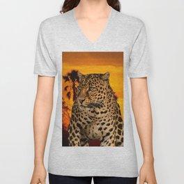 Leopard and Sunset Unisex V-Neck