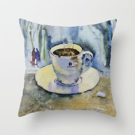 Cup of coffee with a piece of sugar Throw Pillow
