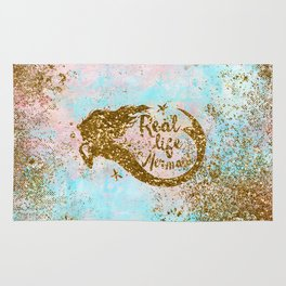 Faux Gold Glitter- REAL LIFE MERMAID On Sea Foam Rug
