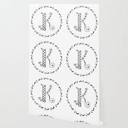 K - decorative monogram. Wallpaper