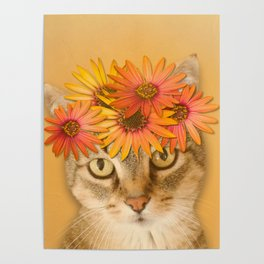 Tabby Cat with Daisy Flower Crown, Mustard Yellow Background Poster