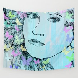 Butterfly Girl  - JUSTART © Wall Tapestry