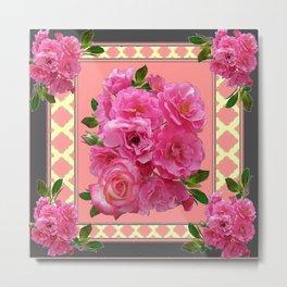 VINTAGE STYLE PINK ROSES PATTERN GREY ART Metal Print