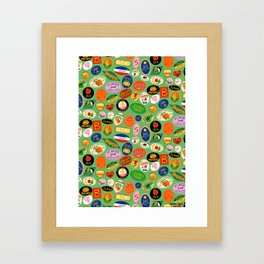 Fruit Stickers Pattern Framed Art Print
