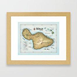 Maui [Atlas Inspired] Points of Interest Road Map Framed Art Print