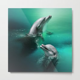 Dancing Dolphins Metal Print