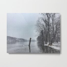 Snowy Rock River Metal Print
