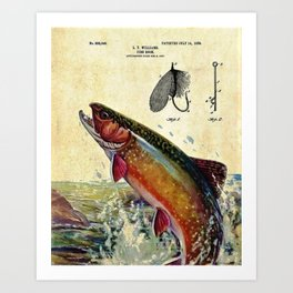 Vintage Trout Fly Fishing Lure Patent Game Fish Identification Chart Art Print