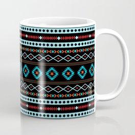 Aztec Blues Reds Black Mixed Motifs Pattern Coffee Mug