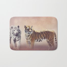 White And Brown Bengal Tigers Bath Mat