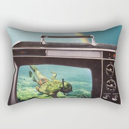 Tune in for more adventure, vintage collage with diving lady Rectangular Pillow