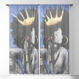 Naturally Queen VI BLUE Sheer Curtain
