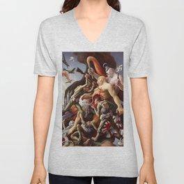 Classical Masterpiece WWII 'Exterminate' by Thomas Hart Benton Unisex V-Neck