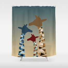 Abstract Colored Giraffe Family Shower Curtain