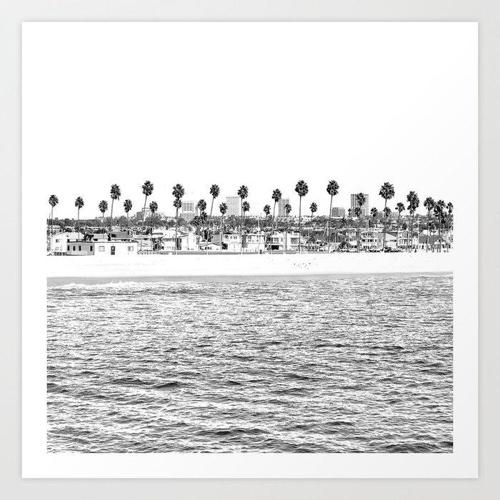 Vintage Newport Beach Print {4 of 4} | Photography Ocean Palm Trees B&W Tropical Summer Sky Kunstdrucke
