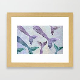 Amethyst and Teal Mermaid Tails Framed Art Print