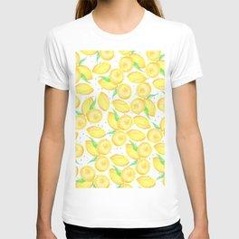 Sunshine yellow orange blue watercolor lemon fruit pattern T-shirt