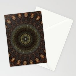 Ornamented mandala in green, red and brown tones Stationery Cards