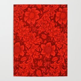 William Morris Mexican Red Sunflower Textile Floral Pattern Poster