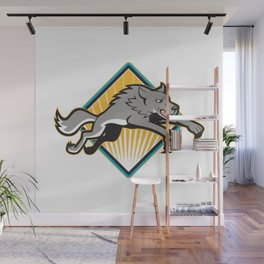 Gray Wolf Wild Dog Jumping Attacking Wall Mural