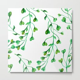 Green Clover Seamless Leafy Watercolour Pattern Metal Print