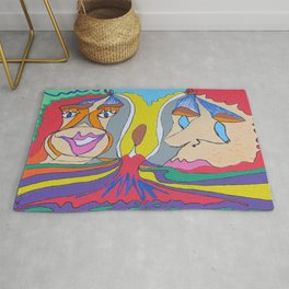 It's always easier to hang a sad face Rug