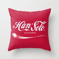 han solo Throw Pillows featuring Brand Wars: Han Solo by Barn Bocock