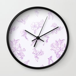 beautiful,violet,floral,shabby chic,pattern,french chic, country chic, vintage, Wall Clock