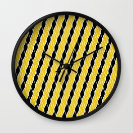 Golden Yellow and Black Stripes Wall Clock