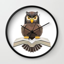 Vector, Brown Owl fly with the book Wall Clock