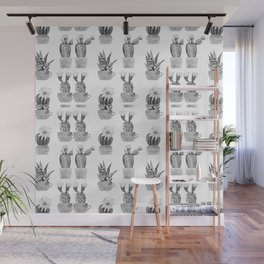 Potted Cactus Black and White Wall Mural