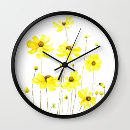 yellow cosmos flowers watercolor Wall Clock