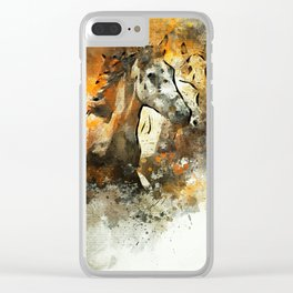Watercolor Galloping Horses On Raw Canvas | Splatter Painting Clear iPhone Case