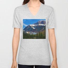 Mt. Edith Cavell in Jasper National Park, Canada Unisex V-Neck