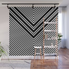 Back and White Lines Minimal Pattern No.1 Wall Mural