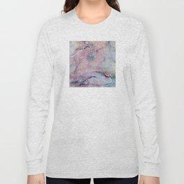Glitter-Pink and Soft Aqua Marbled Pattern Long Sleeve T-shirt